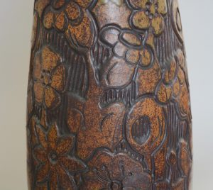 Andrew Bergloff studio pottery vase detail of carving.