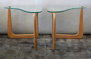 mid century sculptural oak and glass end tables in the style of isamu noguchi