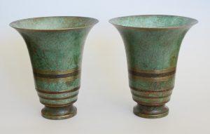 Carl Sorensen art deco bronze vases