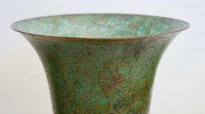 Carl Sorensen art deco bronze vase detail lip