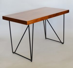 Luther Conover iron and walnut side table