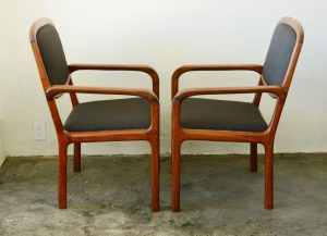 California craft studio chairs in walnut side view