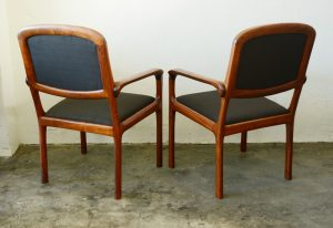 California craft studio chairs in walnut back view