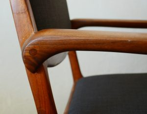Joinery on arm of craft chair