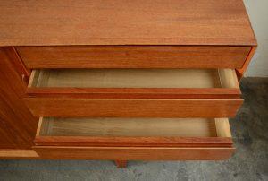 Mid century Danish teak credenza drawers