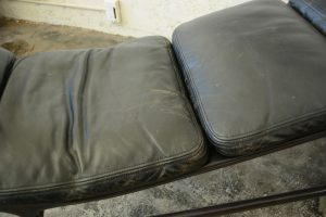 Eames chaise lounge close up of leather
