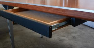 Walnut and aluminum custom executive desk