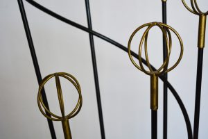 French iron and brass coat rack.
