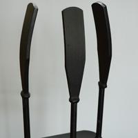 mid century iron fireplace tools