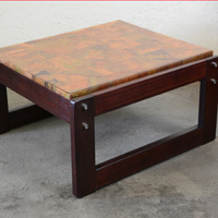 Percival Lafer rosewood and copper table