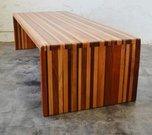 California studio laminated wood coffee table with dovetail joints