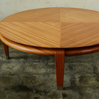 Paul Laszlo round mahogany coffee table for brown saltman