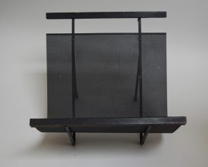 mid century iron magazine rack perforated metal