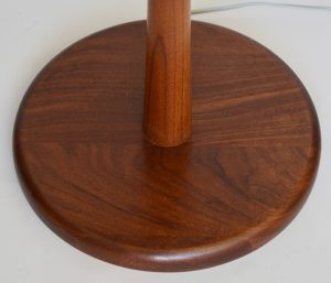 Walnut base on the Martz mid century floor lamp.