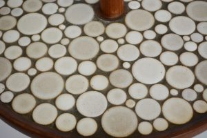 Detail of the tiles on the table portion of the Martz floor lamp.