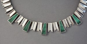 Art deco style Mexican sterling and malachite necklace detail.