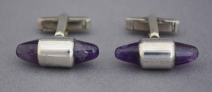 Amethyst and sterling modernist cuff links by Antonio Pineda.