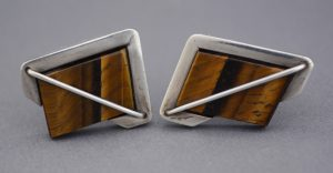 Rancho Alegre sterling modernist cufflinks with tiger eye.