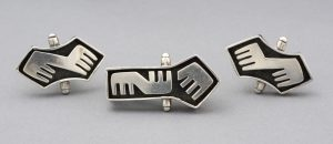 Salvador Teran modernist sterling cufflinks.