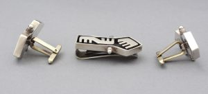 Salvador Teran modernist sterling cufflinks made in Taxco.
