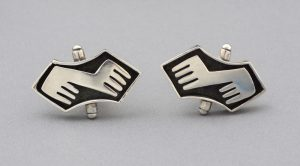 Salvador Teran modernist sterling cuff links.
