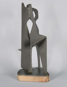 Abstract mid century steel sculpture.