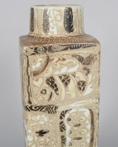 Closeup of Nils Thorsson Baca fajance vase for Royal Copenhagen.