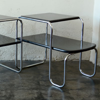 Machine age art deco chrome and lacquer end tables