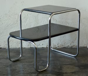 Machine age streamline chrome and lacquer end tables