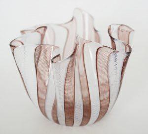 Purple and white Venini handkerchief vase.