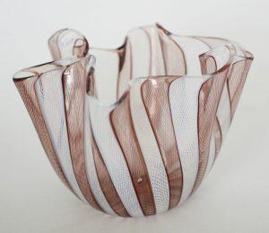 Venini Fazzoletto vase with purple and white glass threads.