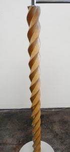 Twisted oak column on Russel Wright lamp.