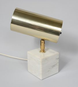 Marble and brass spot light by Koch and Lowy