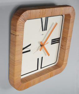 Arthur Umanoff rattan wrapped clock for Howard Miller
