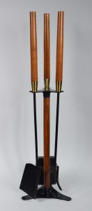 Walnut and iron fireplace tools by Seymour