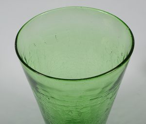 Blenko glass vase #366 in green crackle