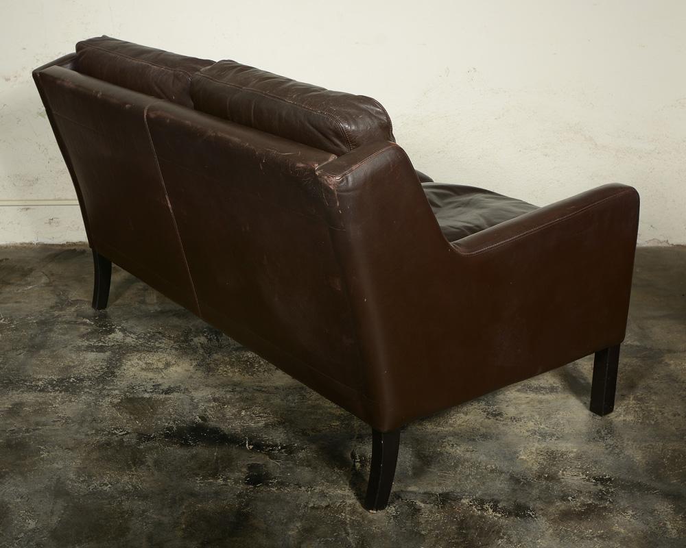 Midcentury Danish leather settee.