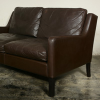 Mid Century Leather Danish Sofa
