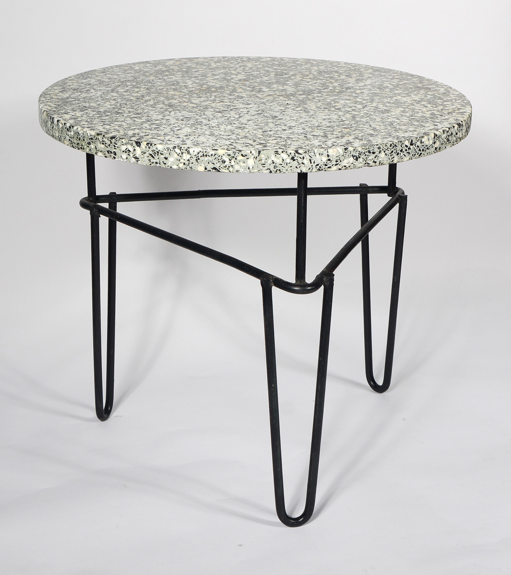 Terrazzo and Iron Side Table